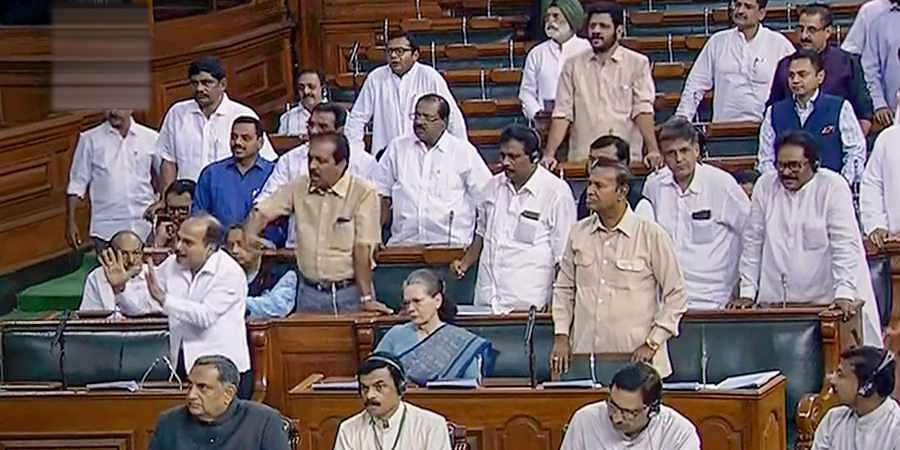 Opposition Congress members in the Lok Sabha.