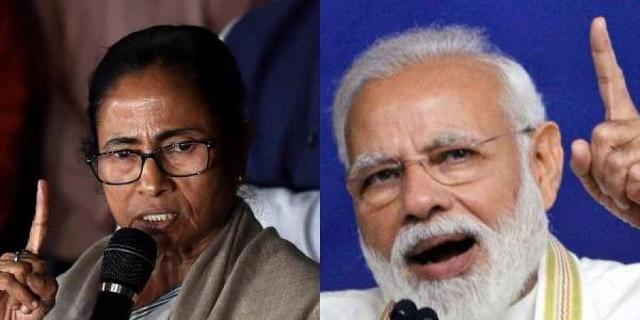 TMC supremo Mamata Banerjee (L) and PM Narendra Modi (R)