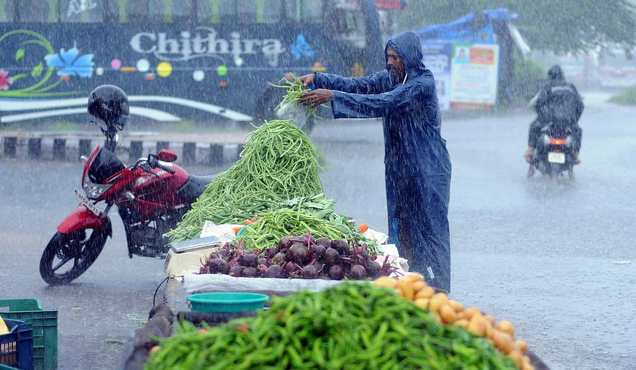 Rain or shine, this vegetable vendor doesn't let the vegaries of weather prevent him from earning his daily bread. (Photo | A Sanesh, EPS)