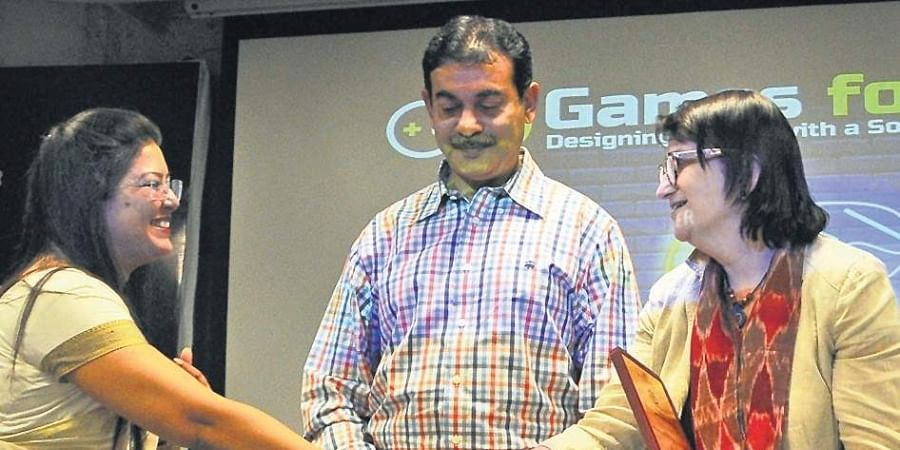 Katherine Hadda, Consul General, US Consulate, and Jayesh Ranjan, IT Secretary, at a gaming workshop at T-HUB in Hyderabad on Thursday