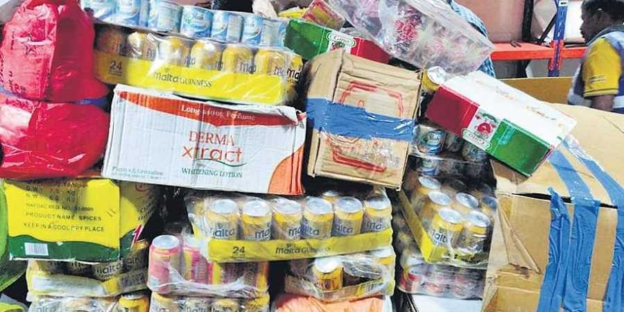 Consumer goods seized at the RGIA on Thursday