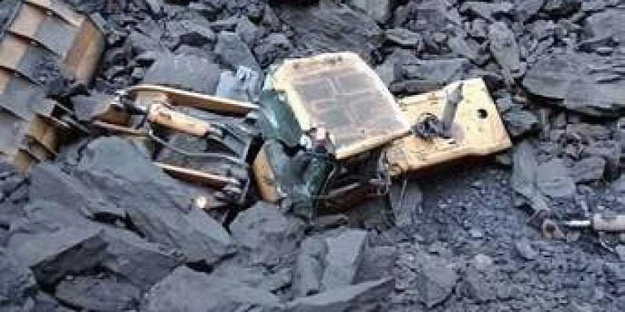 Debris at the mishap site in Bharatpur open cast coal mine