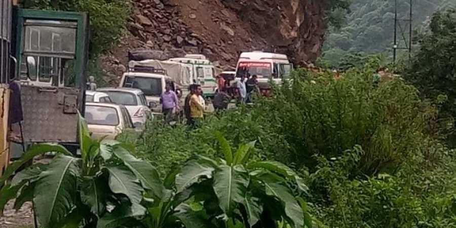 National Highway 3 is blocked near Mandi town due to landslide after heavy rain in the region