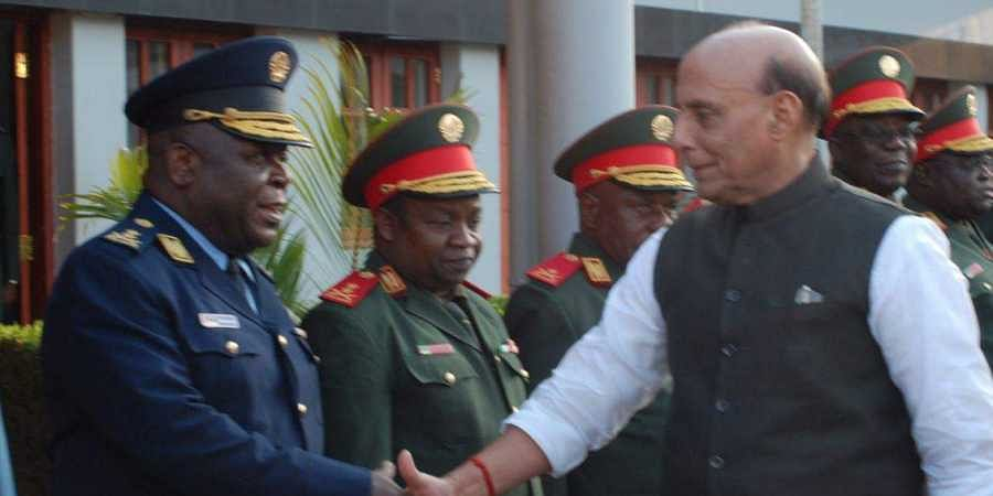 Defence Minister Rajnath Singh in Maputo, Mozambique.