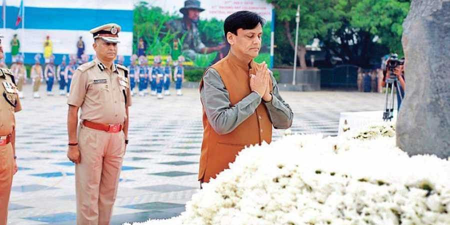 MoS (Home Affairs) Nityanand Rai pays respect to the martyrs at the national police memorial at Chanakyapuri, New Delhi