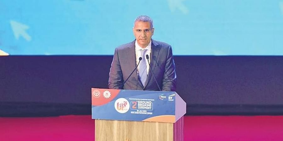 Ahmed ElSheikh, president and CEO, PepsiCo India, speaks at the Uttar Pradesh govenment's second Ground Breaking Ceremony in Lucknow on Sunday.