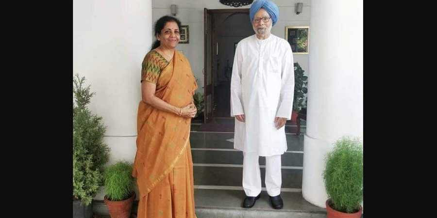 Finance Minister Nirmala Sitharaman met former PM Dr Manmohan Singh at his residence on 2 July 2019. (Photo | ANI)