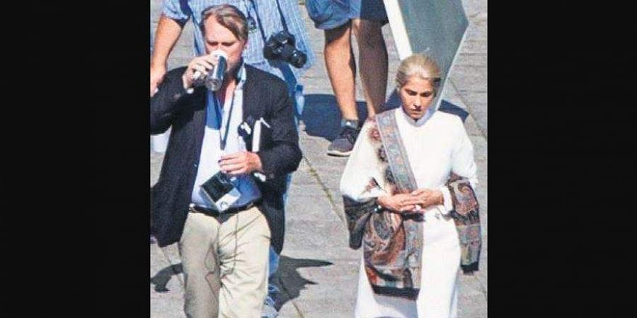 Christopher Nolan and Dimple Kapadia on the sets of 'Tenet'.
