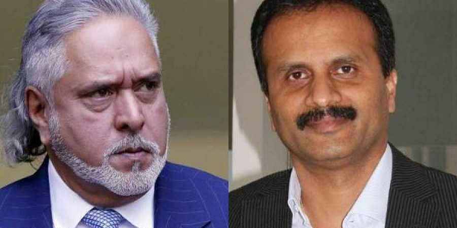 Vijay Mallya (L) and CCD founder-owner VG Siddhartha