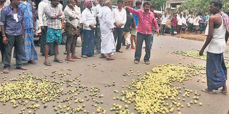 Farmers dump lemons on the road in front of the Market Yard in protest against e-NAM trading system at Tenali in Guntur district on Wednesday.