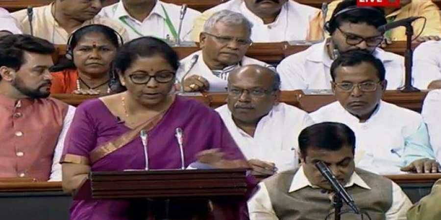 Finance Minister Nirmala Sitharaman presents her maiden budget in the Lok Sabha on 5 July 2019. (Photo | LS TV screengrab)