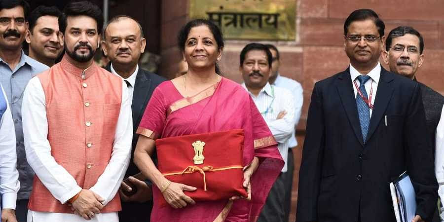 Finance Minister Nirmala Sitharaman with her team members on her way to present the Finance Budget at North Block in New Delhi on 5 July 2019. (Photo | Parveen Negi, EPS)