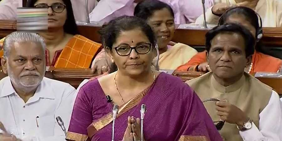 Union Finance Minister Nirmala Sitharaman presents the Union Budget 2019-20 in the Lok Sabha at Parliament in New Delhi.