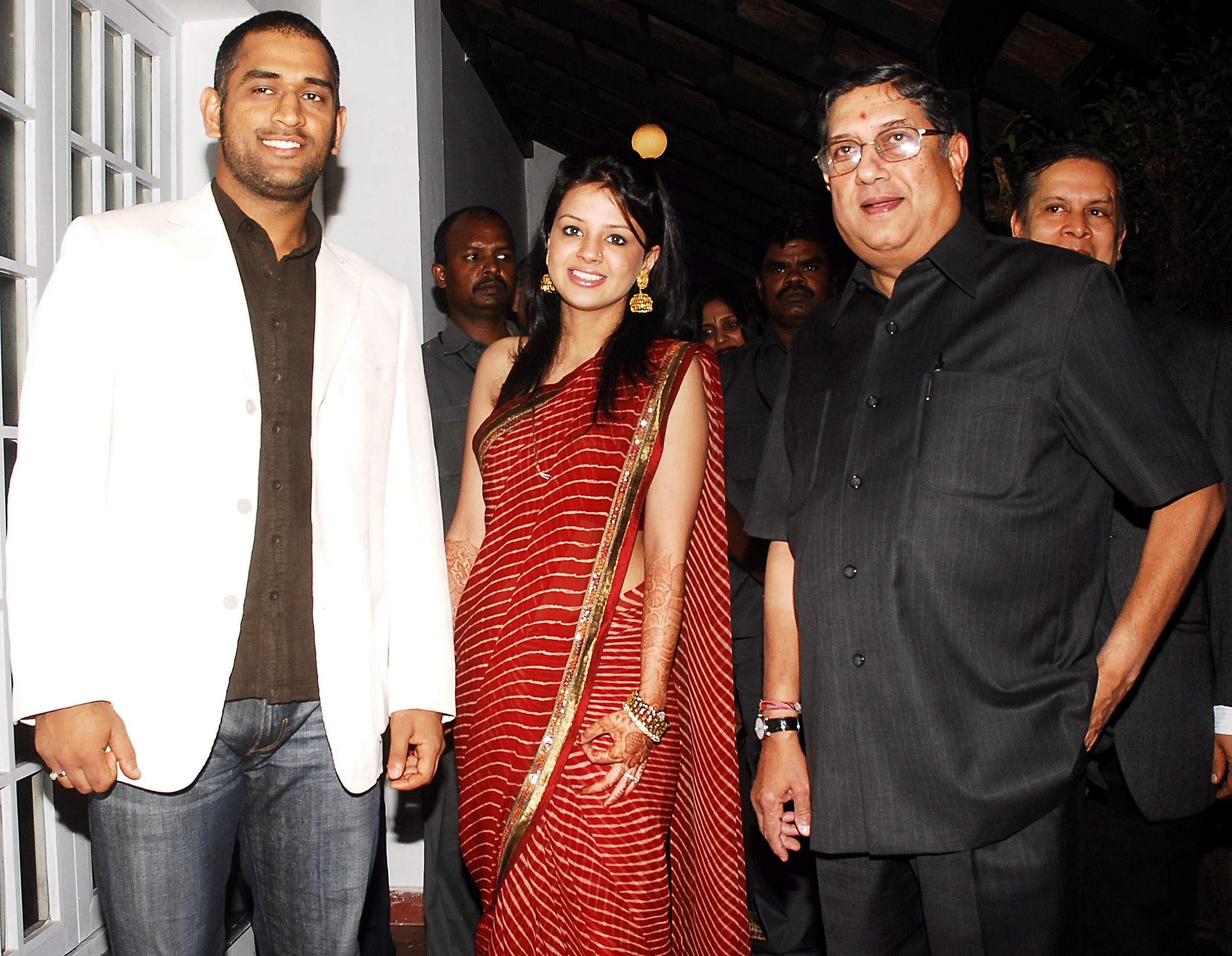 MS Dhoni, his wife Sakshi Singh Rawat and BCCI Secretary N Srinivasan during felicitation function in Chennai.