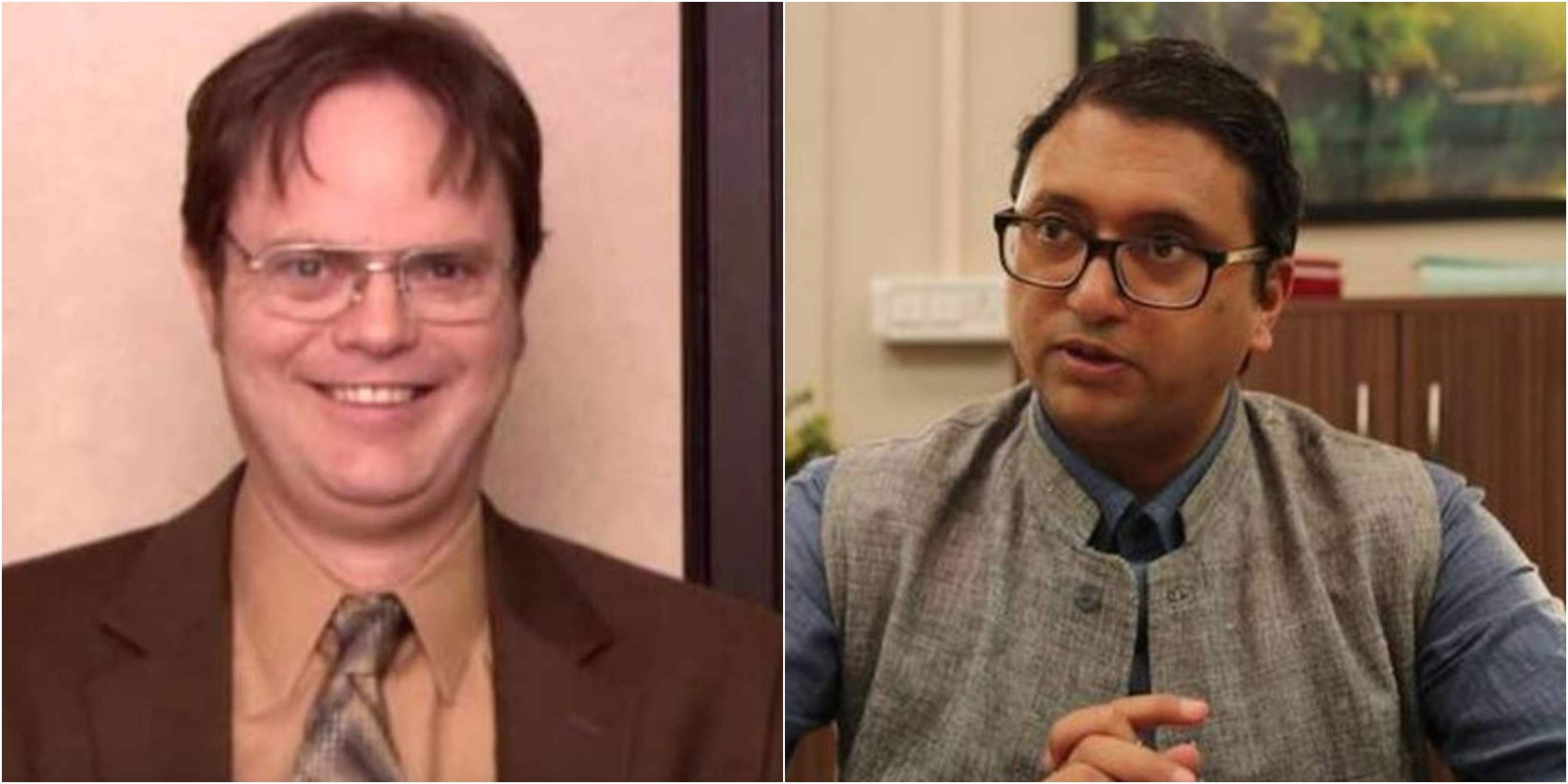 Character name- Dwight Schrute / Triveni Prasad  Mishra Played by- Played by- Rainn Wilson (The Office US) , Gopal Datt (The Office India) Dwight Kurt Schrute is a passionate and dedicated salesman, over-achiever and notoriously known for his lack of social skills and office rivalry with Jim. In the Indian version, TP Mishra is shown to be all of the above plus a nationalist who takes 'make in India' quite seriously.