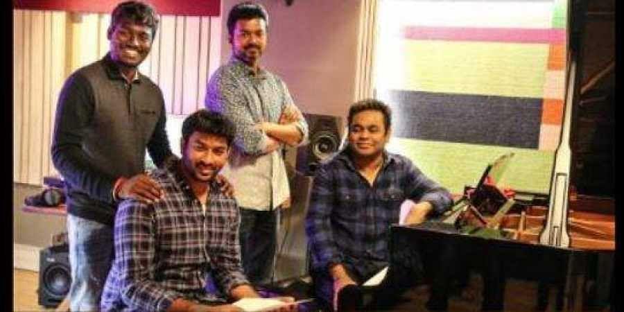 Director Atlee with lyricist Vivek, Actor Vijay and music director AR Rahman.