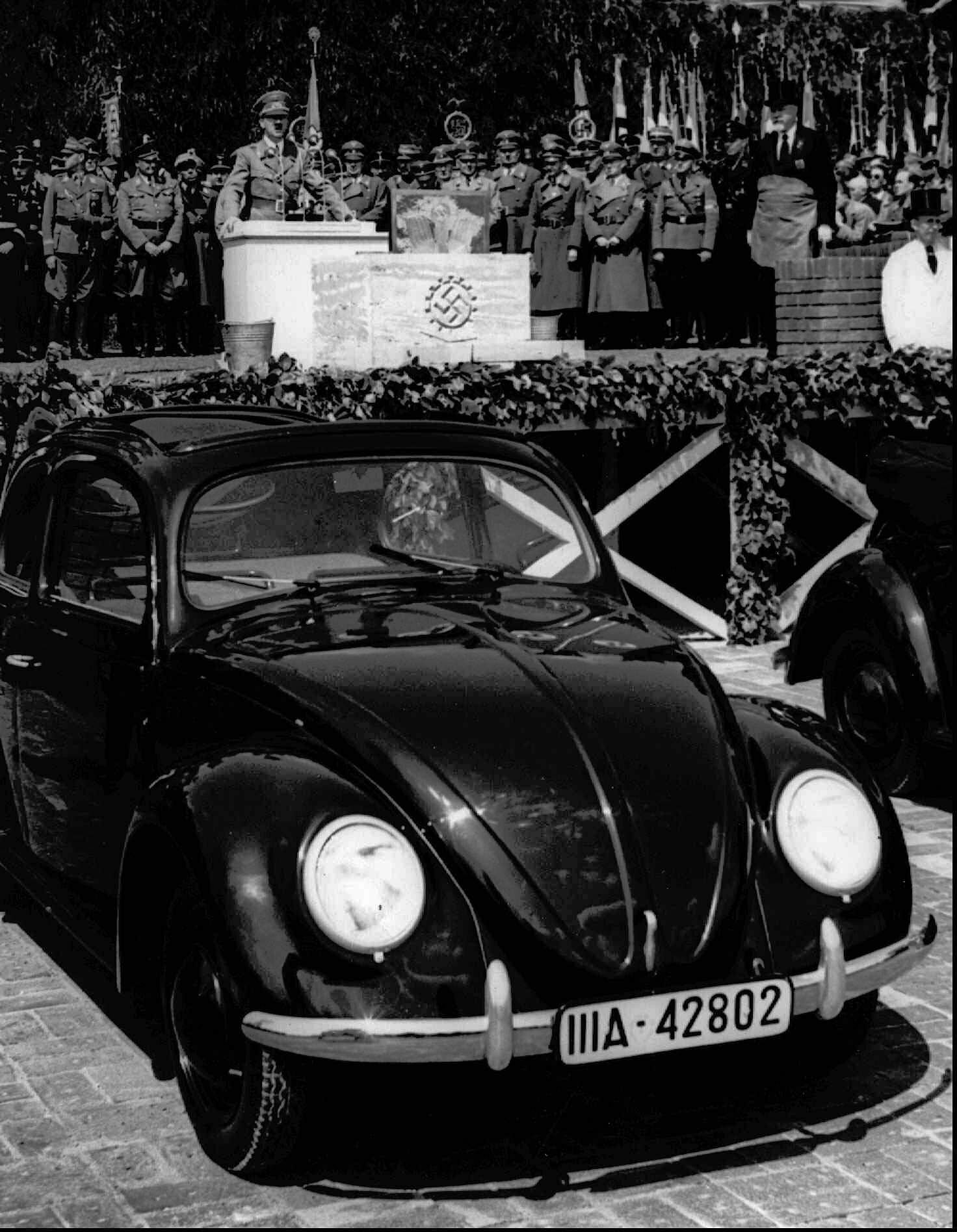 In this May 26, 1938 file photo, German Nazi leader Adolf Hitler speaks at the opening ceremony of the Volkswagen car factory in Fallersleben, Lower Saxony, Germany. (File Photo   Associated Press)