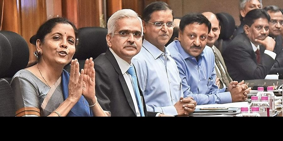 Finance Minister Nirmala Sitharaman and RBI Governor Shaktikanta Das during a meeting of the RBI's central board, in New Delhi on Monday.