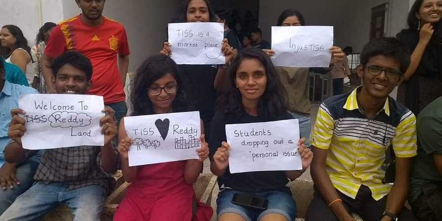 TISS Hyderabad students on strike are seen in this picture. (Photo | By Special Arrangement)