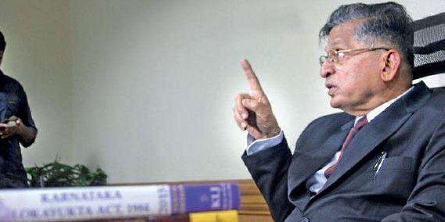 A file photo of Lokayukta Justice P Vishwanatha Shetty at his office in  Bengaluru.