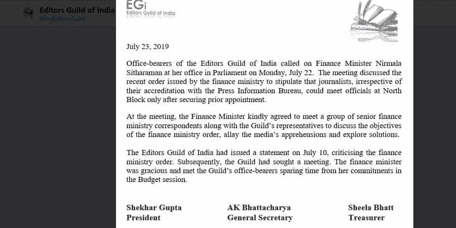 Statement issued by Editors Guild of India.