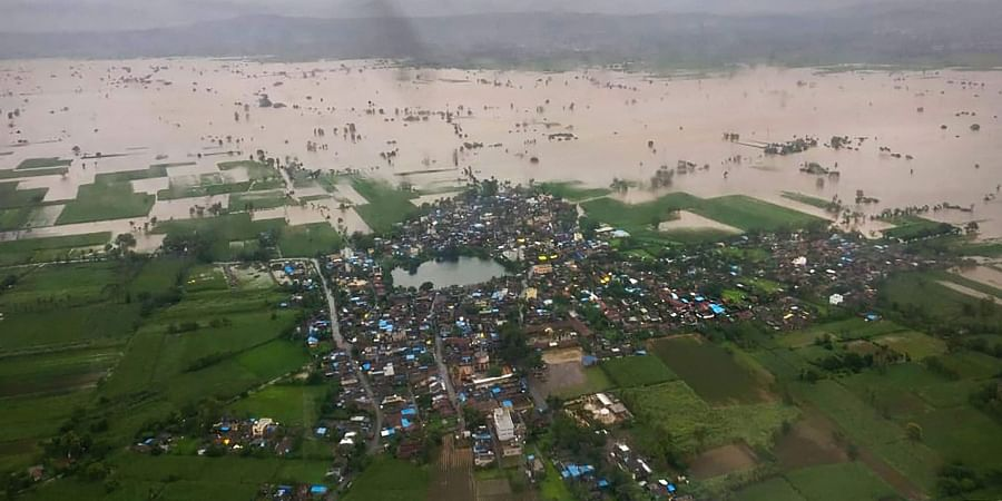 A birds eye view shot from an Indian Navy aircraft of flooded Kohlapur district , Maharashtra on August 7.