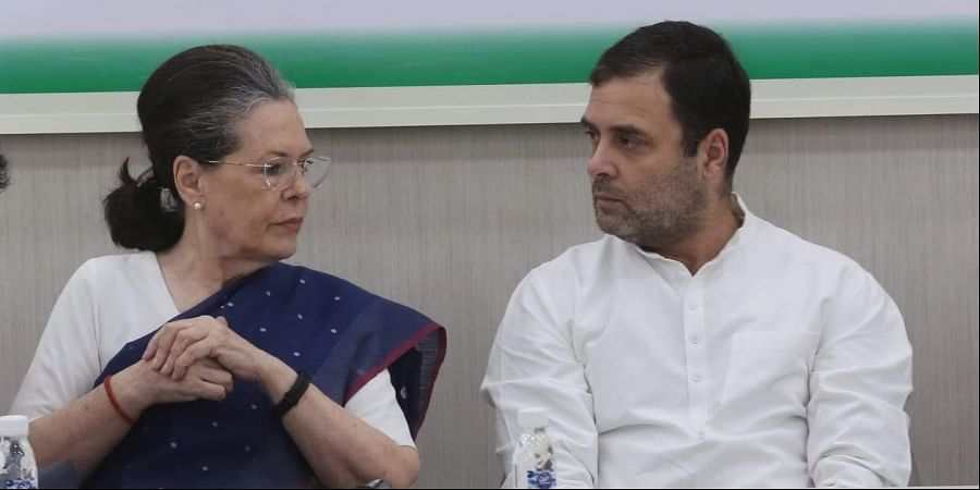 Congress President Rahul Gandhi and senior party leaders Sonia Gandhi during Congress Working Committee CWC meeting at AICC HQ in New Delhi