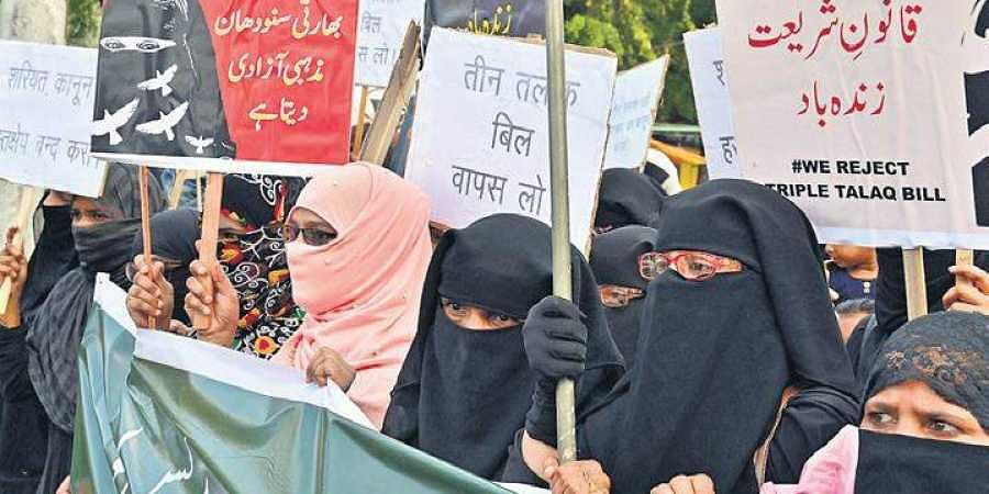 Muslim women participate in a rally to protest against the Triple Talaq Bill at Jabalpur in Madhya Pradesh on Saturday