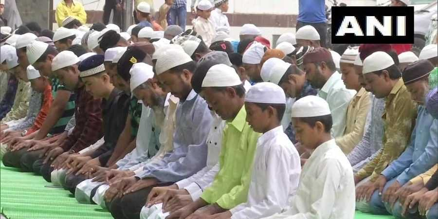 Devotees offer namaaz in Shiroli, Kolhapur on the occasion of Bakr Eid