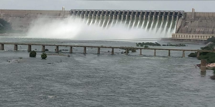 Nagarjuna Sagar Dam officials lifted 24 crest gates and releasing above one lakh cuses to downstream on Monday
