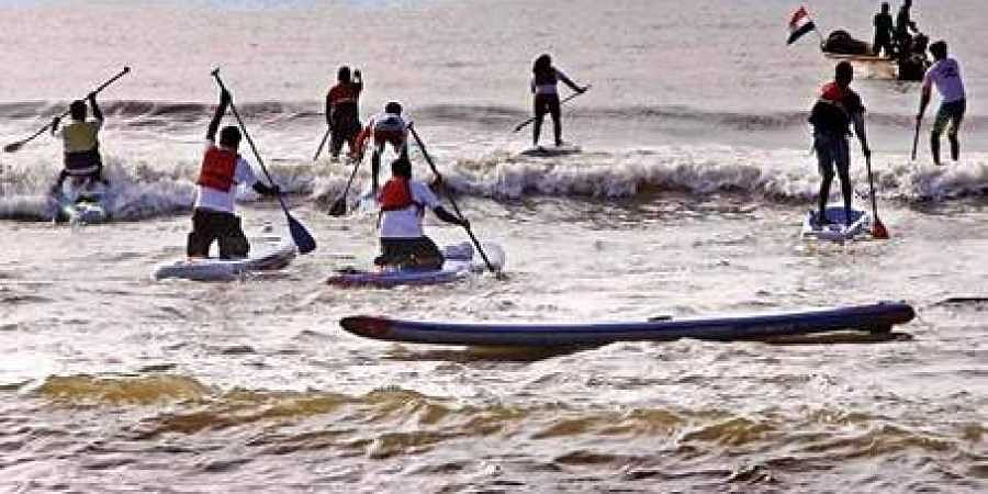 The 'Stand Up Paddle Rally' was flagged off  by Puducherry governor Kiran Bedi