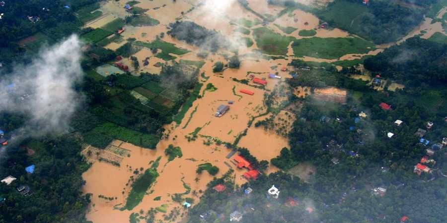 Aerial photo of Kerala floods.