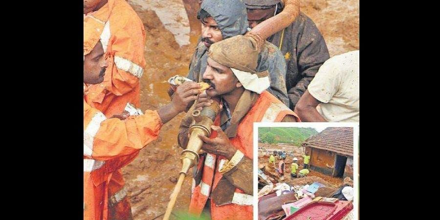 Rescue operations at Puthumala in Wayanad.