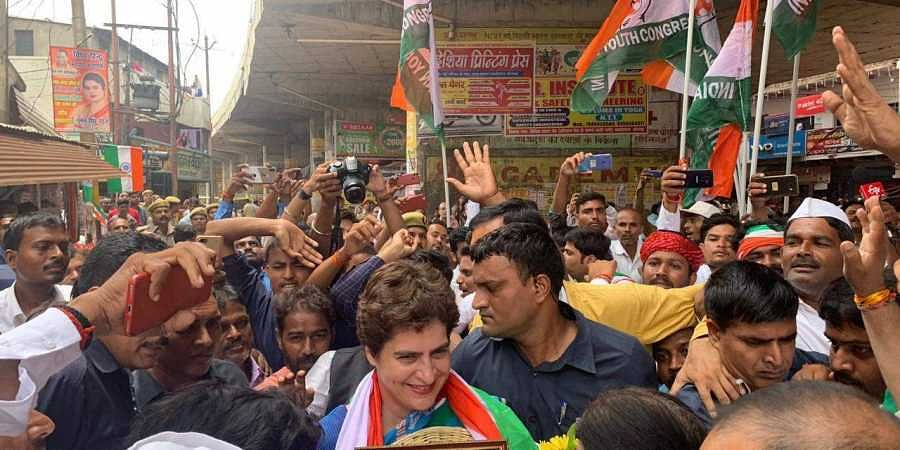 Congress leader Priyanka Gandhi Vadra being welcomed in Varanasi on 13 August 2019. (Photo | By special arrangement)