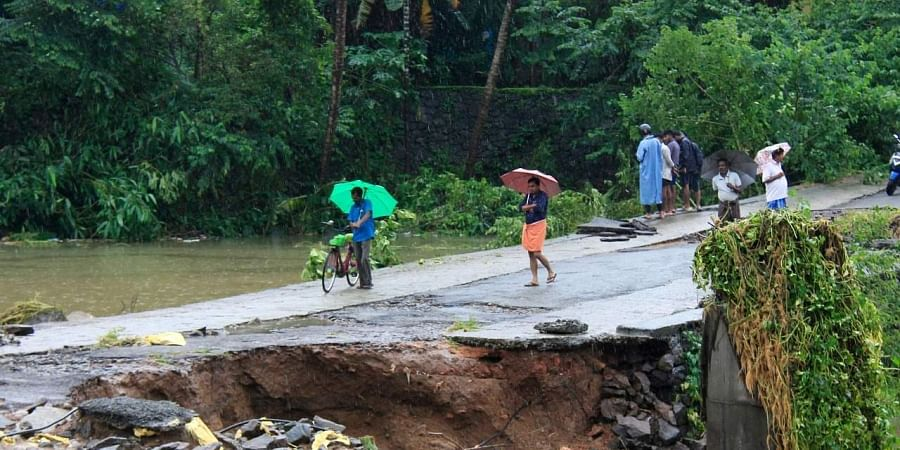 A visual of the damaged AP Varkey road which connects to Kalady near Nedumbassery in Kochi, Kerala on 10 August 2019. (Photo | Arun Angela, EPS)