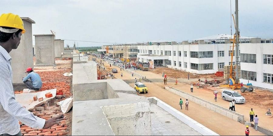 The state's new Secretariat building being constructed in its new capital of Amaravati