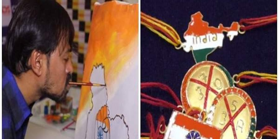 Manoj Bhingare, a renowned mouth and foot painter (L) and unique rakhis with patriotic theme