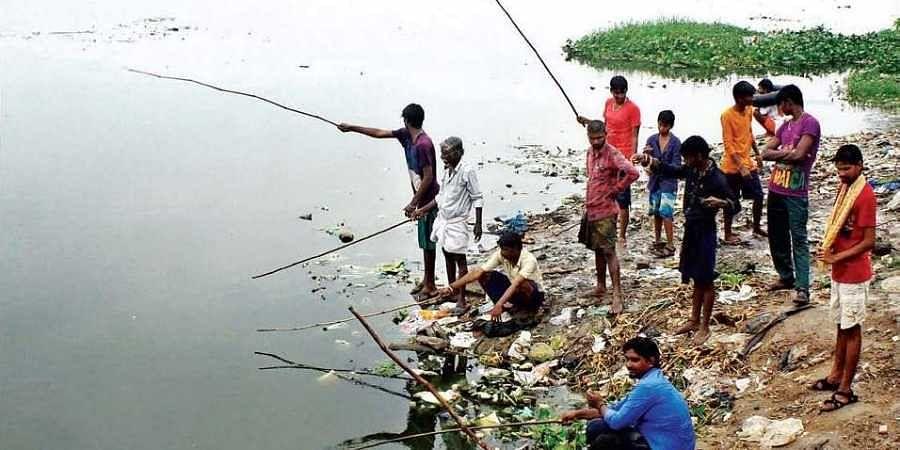 Locals fishing at Velachery Lake