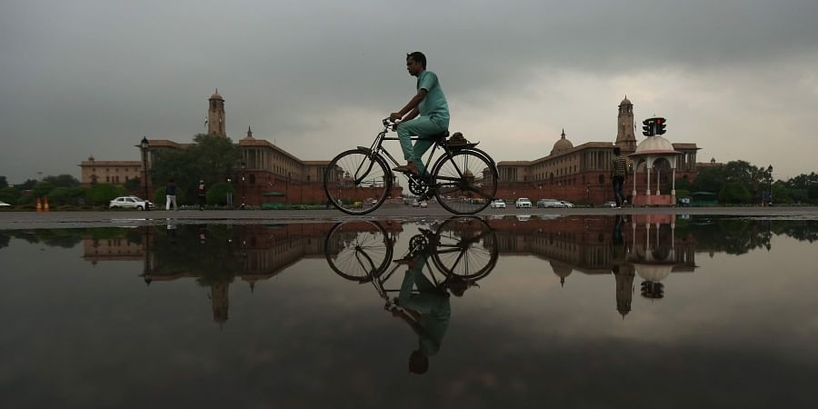 Clouds loom over Raisina Hills in New Delhi.