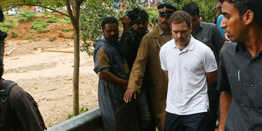 Wayanad MP Rahul Gandhi visiting the flood-hit areas of the constituency