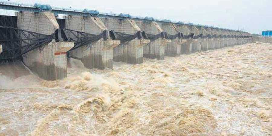Image result for Water released from Prakasam barrage