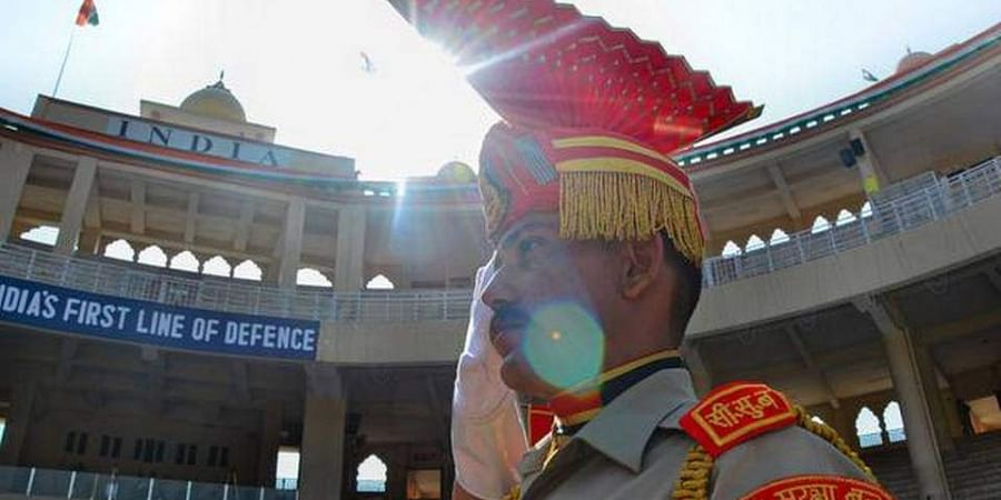 A Border Security Force (BSF) jawan during celebration of 73rd Independence Day at the India-Pakistan Attari-Wagah border post on August 15, 2019. (Photo | PTI)