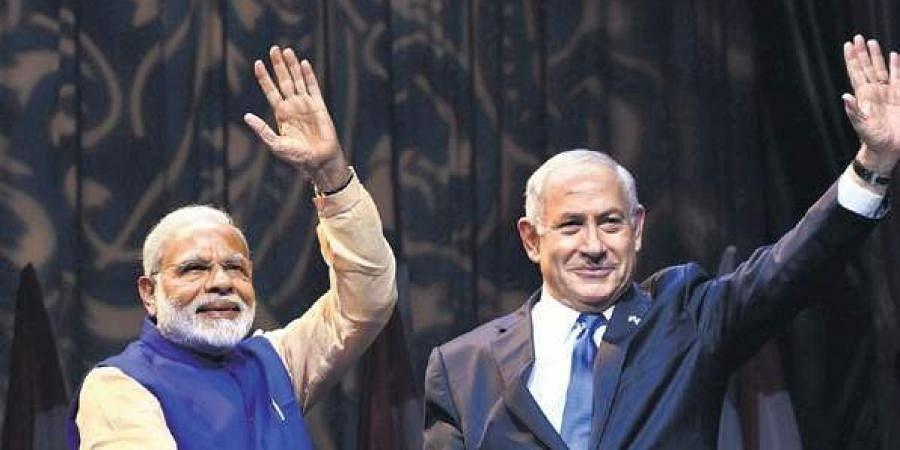 Indian PM Narendra Modi with Israeli PM Benjamin Netanyahu