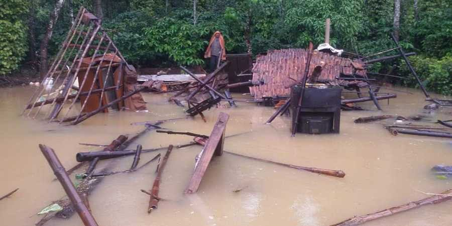 Destruction caused in flood-hit Kodagu district in Karnataka