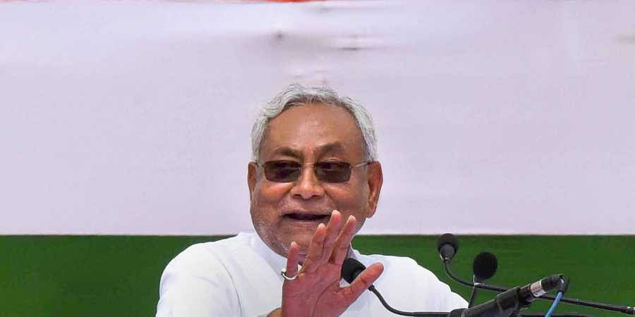 Bihar Chief Minister Nitish Kumar addresses during the 73rd Independence Day celebrations at the historic Gandhi Maidan in Patna.