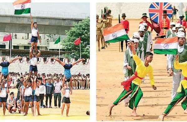 Celebrations galore: Students salute the forces, tie rakhi