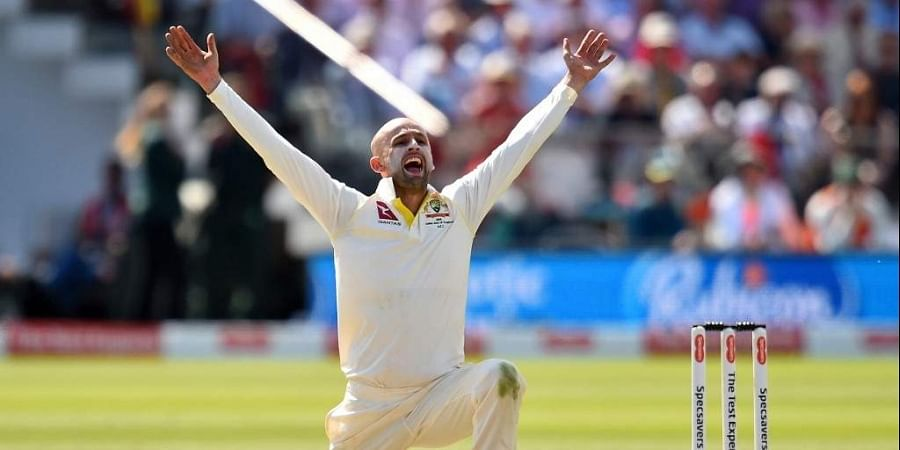 Australia's Nathan Lyon celebrates taking the wicket of England's Ben Stokes (unseen) for 13 runs on the second day of the second Ashes cricket Test match between England and Australia at Lord's Cricket Ground. (Photo | AFP)