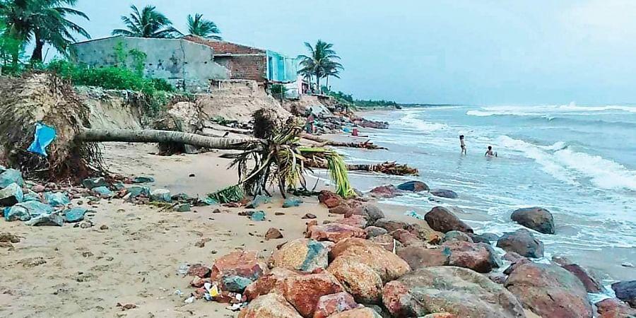 Damaged seaside village at Ramayapatana