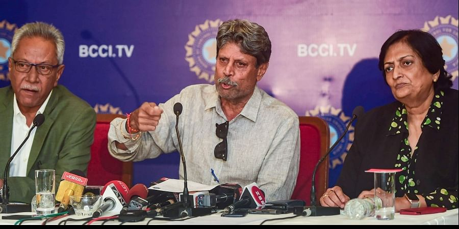 The three-members of Cricket Advisory Committee CAC Kapil Dev Anshuman Gaekwad and Shantha Rangaswamy during a press conference in Mumbai. (Photo | PTI)