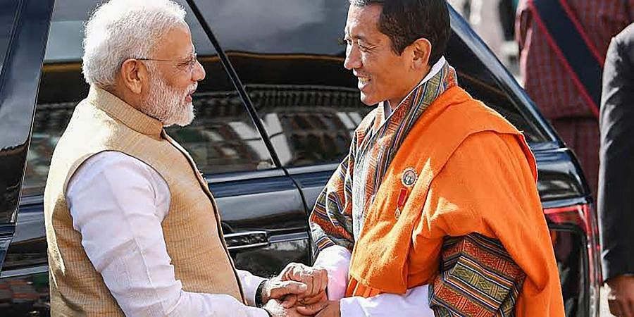 Prime Minister Narendra Modi and the Prime Minister of Bhutan Lotay Tshering before a meeting in Thimphu, Bhutan.